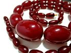 STUNNING Antique ART DECO 1930's CHERRY AMBER RED BAKELITE Bead NECKLACE 54.8g