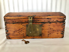 Antique Primitive PINE STORAGE BOX Lock/Key Work Black Paint