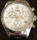 Timex Chronograph Date Indiglo 36.5mm Tachmeter Silver Tone Watch Working