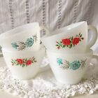 Vintage Fire King Milk Glass Bonnie Blue Corn Flower Red Roses Coffee Cup Teacup
