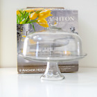 Glass Anchor Hocking Toscany ASHTON Cake Plate Punch Bowl w/ Clear Dome Lid NEW