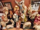 Antique Church Altar Nativity set 19 piece priest estate pristine