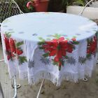 Vintage Christmas Tablecloth Cotton Fabric 50 Round Fringe Poinsettias Stars