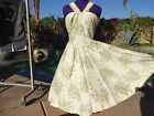 Vintage 50s dress ivory gold S M evening cocktail pinup full skirt silk lined