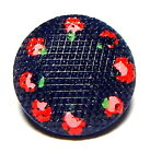 RARE ANTIQUE INDIGO BLUE GRID TOP CHINA 2-PC BUTTON w/PAINTED POSIES ~  3/4