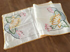 ART DECO EMB WATER LILY DESIGN TABLE RUNNER HAND  1920-1930's~ 37 x 13 1/2