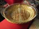 Vintage Glassbake Clear Divided Casserole Dish With Serving Basket