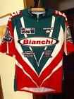 Vintage BIANCHI Tricolore Cycling Jersey size L Summit Brewing Co Colnago DeRosa