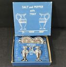 Vintage Boxed Souvenir Silver Plated Metal Salt  Pepper Shakers Tray Japan