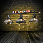 Black Metal Ball Design Pool Table Light Billiard Lamp with Amber Glass Shades