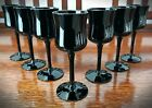 Rare Woodmere Studio Crystal Black Blown Cordial Glass 4 5 8 7 Glasses