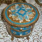 VTG FLORENTINE Gilt Italy Wood Toleware Footed Round Box w/drawers