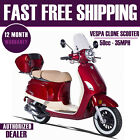 Vespa Clone Scooter Moped 50cc Free Fast Shipping Burgundy Gas Scooter