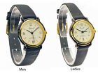 OSIROCK: UNISEX OR WOMEN'S BLACK LEATHER BAND ROUND CASE GOLD DIAL ANALOG WATCH