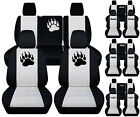 front+back car seat covers blk white w punisherarmy star fit JK wrangler 4dr