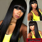 Full Bangs Long Black Straight Wig Heat Resistant Synthetic Hair Women's Wigs