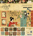 Graphic45 BIRD SONG 8x8 PAPER PAD scrapbooking ASIAN Vintage RETIRED