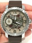 NIB Fossil BQ2273 Nate Stainless Brown Strap Leather Mechanical Watch MSRP $ 275