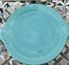 HLC Fiesta USA Heavy Cake Plate Turquoise BLUE Platter Ribbed Handles Pottery