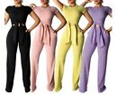 USA Women Knitted Short Sleeve Tie UP Top+Pants 2 Piece Set Tracksuit Out Fit