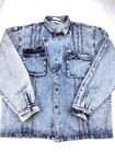 VINTAGE DISTRESSED 60s PRISON DENIM JEAN TRUCKER JACKET BIKER FADED TORN MEDIUM