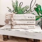 Personalized Stamped Stacked Books Farmhouse Vintage Rustic Home Sweet Home