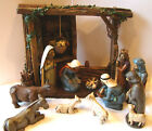 Department 56 Nativity Figurine Set of 12 with Manger Chalk Ware Wood Look LARGE
