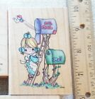 PRECIOUS MOMENTS 1995 Air Mail STAMPENDOUS Rubber Stamp VINTAGE Mailbox