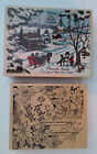 Christmas Rubber Stamp Lot Stampabilities Winter Wish Northwoods O Holy Night