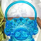 Vintage Indiana Glass Blue Monticello Large Square Art Glass Basket with Handle