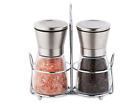 Salt and Pepper Grinder Set with Stand Premium Stainless Steel Shakers