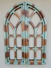 2 Wooden Antique Style Church WINDOW Frame Shutters Wood Gothic 36 Shabby Green