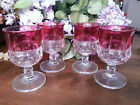 Indiana Glass* Kings Crown Ruby Flash * Vintage Wine Glasses Set of 4
