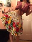 Retro 1950s Style Hearts and Found Floral Print Summer Skirt Small