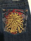 VINTAGE MENS EMBROIDERED REQUEST JEANS 34 By 32