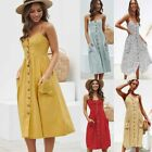 Women's Midi Dress Summer Holiday Solid Long Dress Sleeveless Button Clothing
