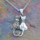 925 Sterling Silver KITTY CAT charm Necklace Pendant Pair Kittens pick chain