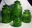 Vintage L.E. Smith Moon and Stars Green Canister Set  *FREE SHIPPING*