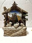 NATIVITY SCENE W BABY JESUS STAINED GLASS PORCELAIN MUSICAL Heavy