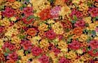 Red Orange Pink Yellow Floral Curtain Valance Window Treatment 43W x 15L