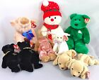 TY Beanie Baby Plush Animals Lot of 9 - Knuckles Snowboy Erin Pouncer Sheepishly