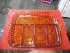Vintage Indiana Glass Amber divided relish tray fruit design