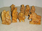 VTG  Nativity Hand Carved Soft Stone Creche Set 10 Piece Set 5 BEAUTIFUL