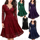 Womens Vintage Lace V Neck Formal Wedding Cocktail Evening Party Swing Dress