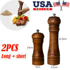 2PC Kitchen Cooking Tool Salt and Pepper Grinder Mill Hand Movement Oak Wood USA