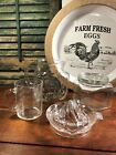 VINTAGE FARMHOUSE KITCHEN GLASSWARE JUICER STAR PITCHER MEASURE CUP REFRIG DISH