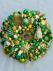 Vintage Christmas ornament wreath 18Inch Green Gold Germany Glass 26571