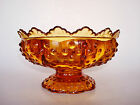 Fenton AMBER Hobnail 6 Candle Holder Footed Compote Scalloped Centerpiece Bowl