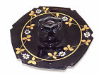Black Serving Dish W/Center Handle - With Gold Leaf and Embossed Daisy Design