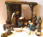 Nativity Figurine Set of 12 with Manger Department 56 Chalk Ware Wood Look LARGE